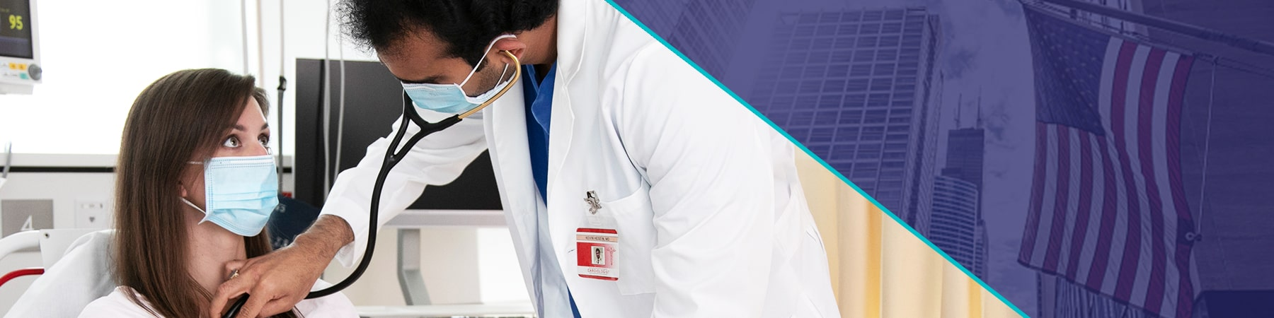 Split-screen image showing a doctor examining a patient with a stethoscope on the left and a US skyline on the right.