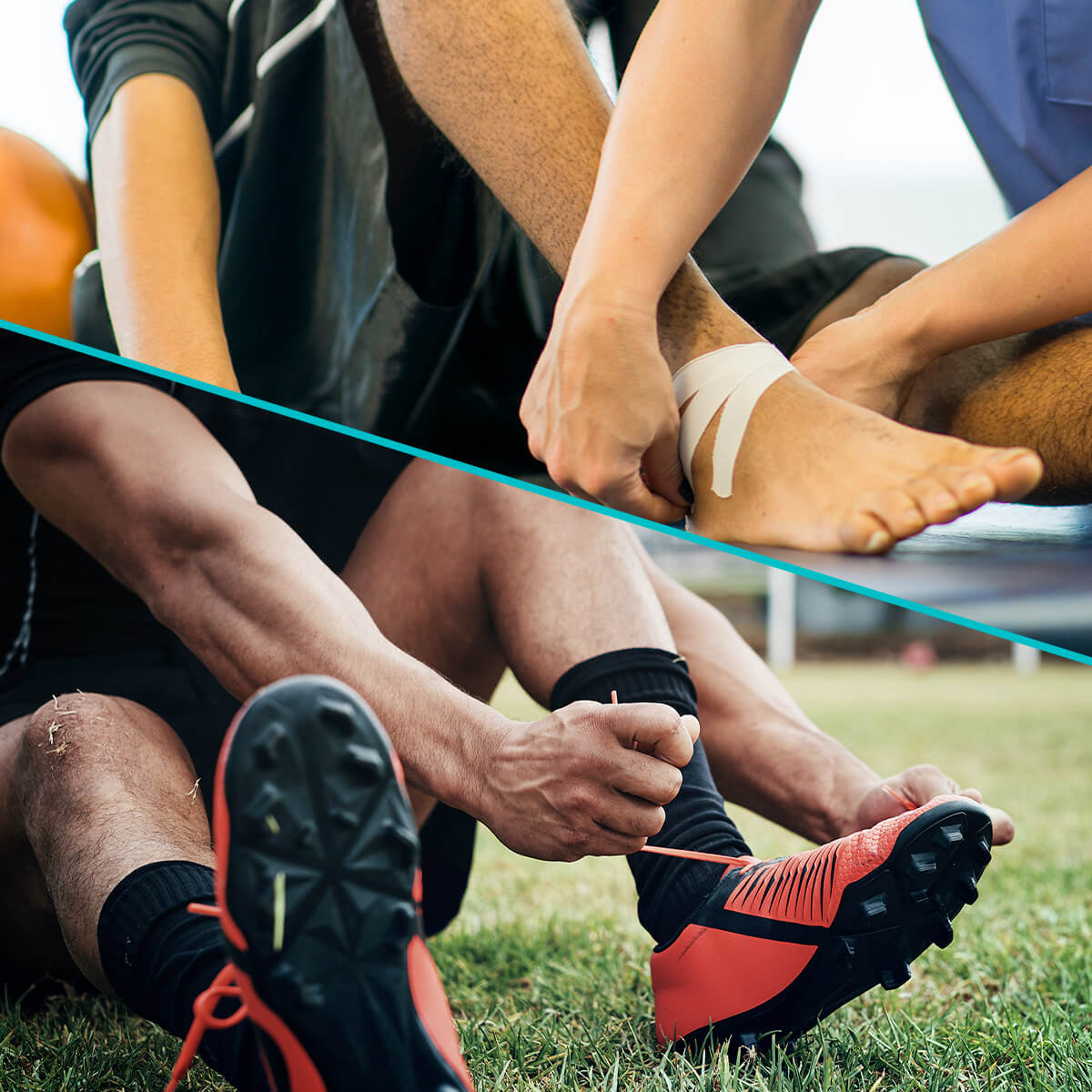 Split-screen image showing an athlete lacing up cleats on the left and a sports medicine physician taping an athlete's ankle after a sports injury.