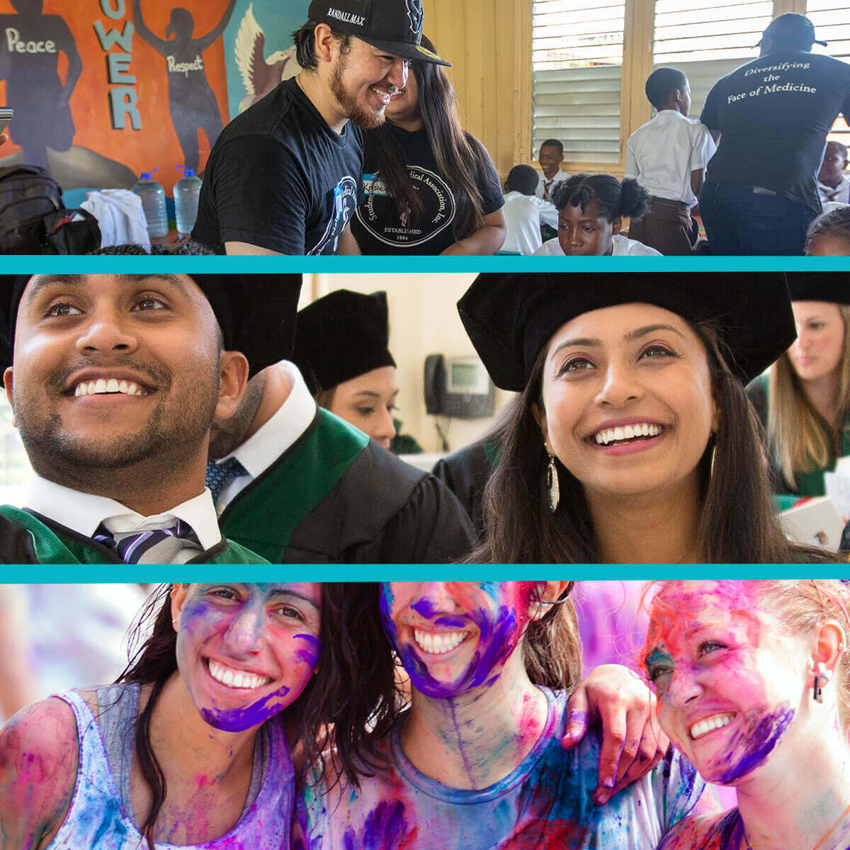 A series of three photos at SGU: one of students volunteering with children, one of recent graduates celebrating, and one of three students smiling after completing a color run.