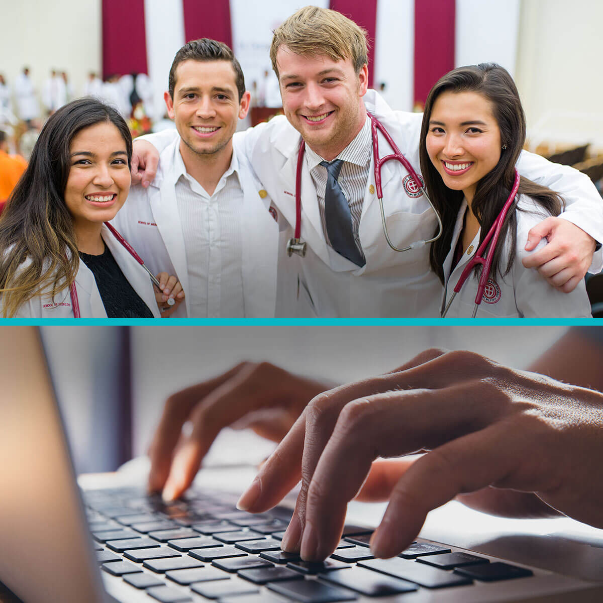 Split image of smiling SGU medical students and close-up of hands typing on laptop.
