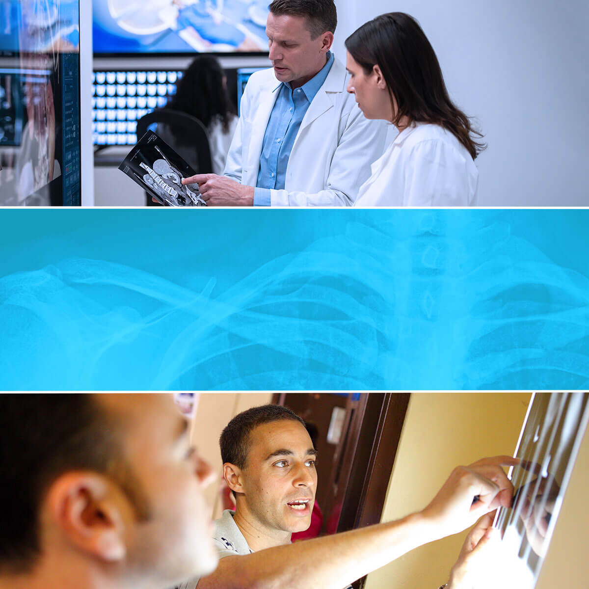 A series of three images that depict what radiologists do, including reviewing results of various diagnostic imaging tests